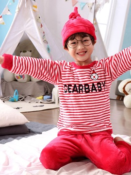 Striped Letter Cartoon Boys' Pajama Set