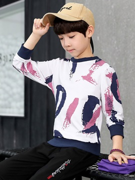 Print Long Sleeve Round Neck Sweatshirt Pants Boys' Outfit