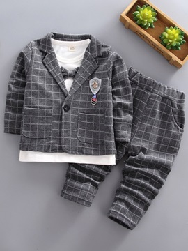 Plaid Blazer Pants T-Shirt Button Lapel Boys' 3 Piece Suit