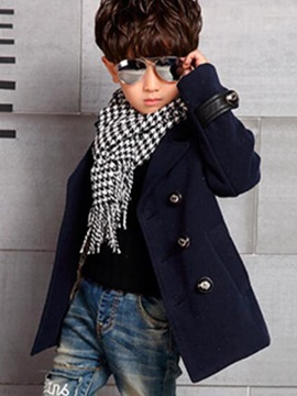 Fashion Double-Breasted Lapel Collar Leather Patchwork Boys' Outerwear