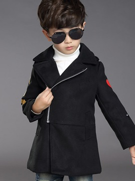 Fashion Letter Appliques Inclined Zipper Boys' Outerwear