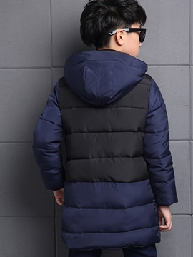Color Block Hooded Boy's Puffer Coat