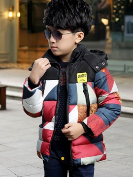 Simple Color Block Boy's Quilted Jacket