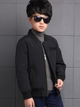 Pure Color Zip-Front Boy's Quilted Jacket