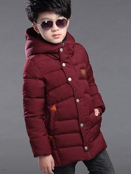Thick Warm Plain Long Sleeve Hooded Boys Cotton Coat