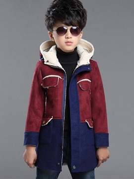 Color Block Hooded Cotton Blends Boys' Outerwear