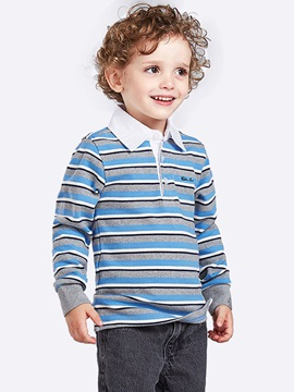 Colored Stripe Lapel Collar Boy's T-Shirt