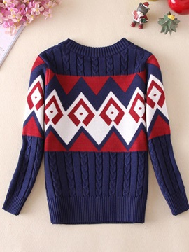 Color Block Round Neck Long Sleeve Thick Sweater