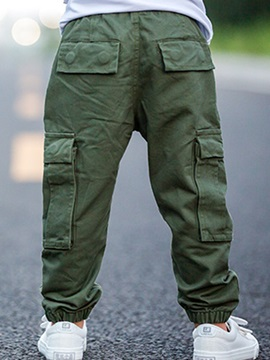 Stylish Army overalls Large Pocket Foot Beam Boys Pants