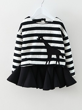 Stripe Long Sleeve Top&Skirt Girl's Outfit