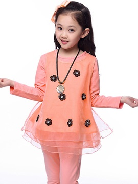 Flower Decorated Long Sleeve Dress Girl's Suits