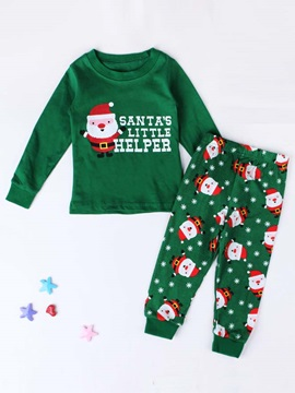 Green Cartoon Long Sleeve Pants Christmas Girl's Suits