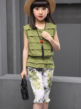 Printed Shorts Layered Top Girl's Outfit