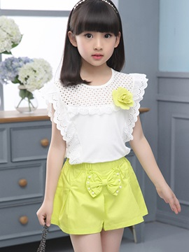 Lacework Hollow Out Girl's Outfit