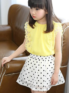 Falbala Top Polka Dots Skirt Girl's Outfit