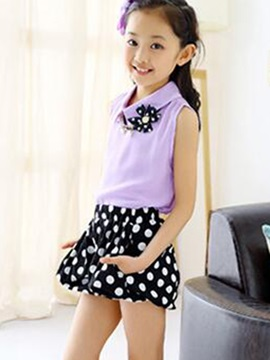 Lapel Collar Sleeveless Top & Polka Dot Shorts