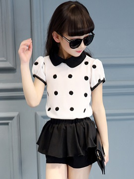 Polka Dots Printing Short Sleeve Girl's 2-Piece Outfit