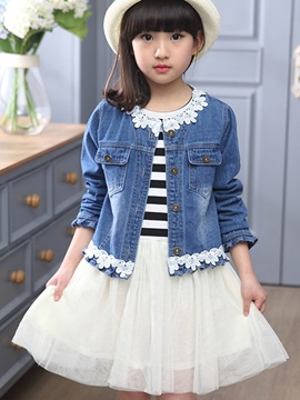 Sweet Lace-Trim Strip Mesh Girls' Outfits