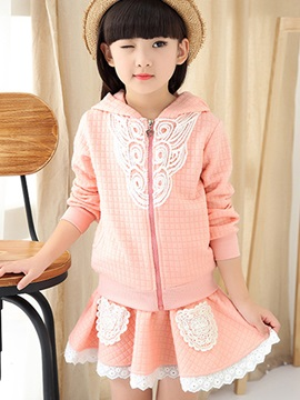 Sweet Crimp Fabric Lace Hollow Patchwork Girls' Outfit