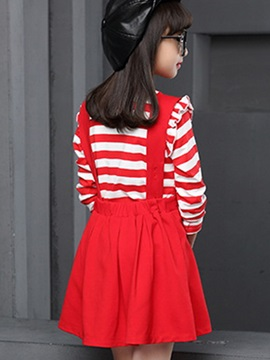Fashion Large V Collar Suspender Strips Pleated Two-Piece Girls' Outfit