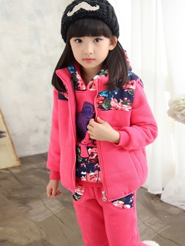 Print Hoodie Vest Pants 3-Pcs Thick Girls Outfit