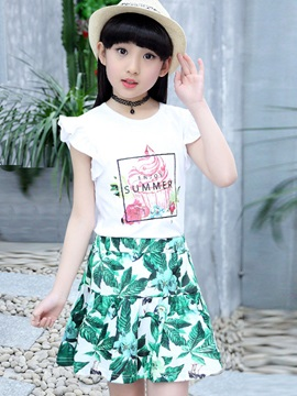 Ice Cream Print T-Shirt Floral Print Skirt 2-Pcs Girl's Outfit