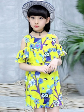 Cold Shoulders Owl Printed Falbala Girl's Dress