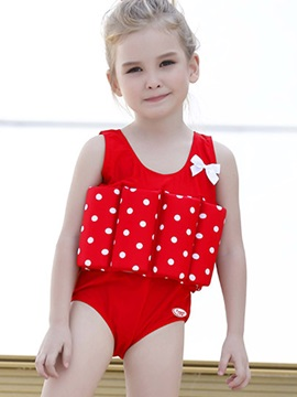 Stylish Bowknot Polka Dots Buoyant Girl's Swimsuit