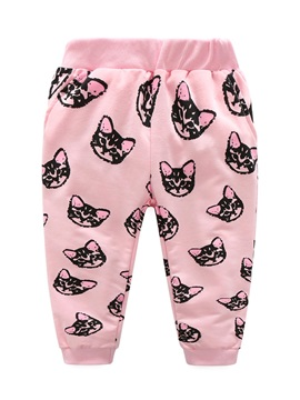 Sweet Cat Printed Long-Sleeve Tops And Pants Girl's Outfit