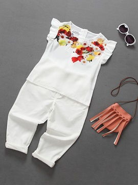 Lemon And Flower T-Shirt & Pants Girl's 2-Piece Outfit