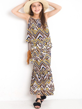 Bohemian Geometrical Patchwork Sleeveless Girl's Long Dress