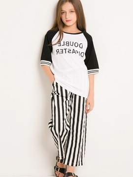Simple Letter Printed Short-Sleeve T-Shirt And Stripe Pants Girl's Outfit