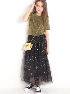 Stylish  T-Shirt And Star Printed Mesh Patchwork Skirt Girl's 2-Piece Outfit