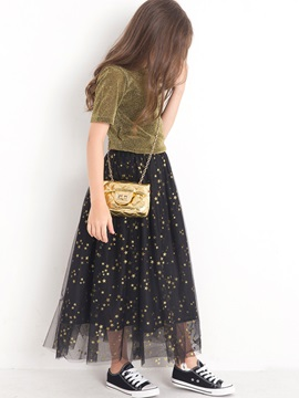 Stylish Simple T-Shirt And Star Printed Mesh Patchwork Skirt Girl's 2-Piece Outfit