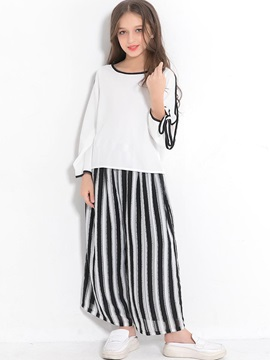 Stripe Open Long Sleeve Lace-Up Loose 2-Pcs Outfit
