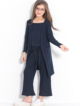Plain Slash Neck Long Sleeve & Pants 3-Pcs Girl's Outfit