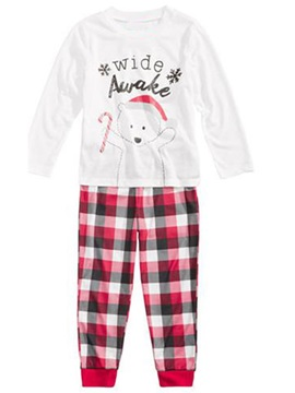 Christmas Letter Print Shirt & Plaid Trousers Girl's Outfit Pajamas