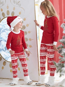 Christmas Letter Print Stripe Unisex Outfit Pajamas