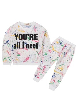 Fashion Letter Print Graffiti Girl's 2-Pcs Outfit