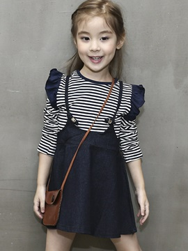 Striped T-Shirt With Denim Skirt Girl's 2-Pcs Outfit
