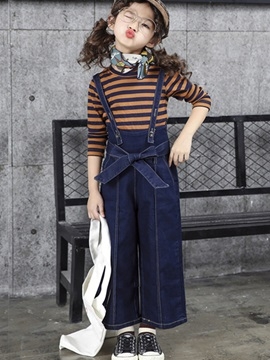 Stripe T-Shirt Bowknot Suspender Pants Girl's Suit