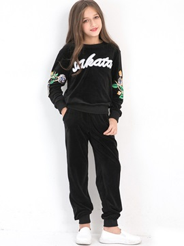 Floral Embroidery Letter Print Girls' Outfit