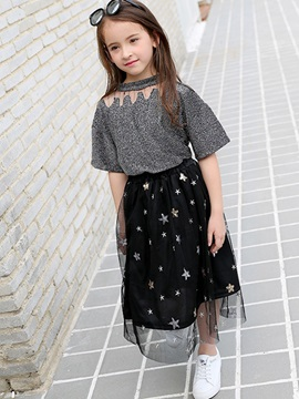 Pullover T-Shirt & Mesh Skirt Girls' Suit