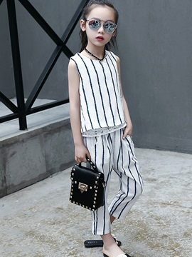 Sleeveless Stripe Ankle Length Girl's Suit