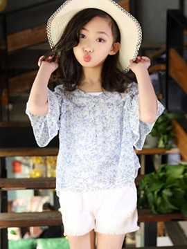 Floral Three-Quarter Sleeve Girl's Suit