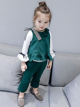 Sleeveless Vest and Pants Girls' Two-Piece Suit