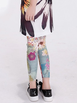 Mori Girl Elastic Knitting Print Girls Legging