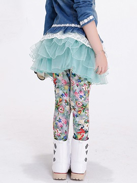 Stylish False Two-Piece Floral Mesh Layers Girls Legging
