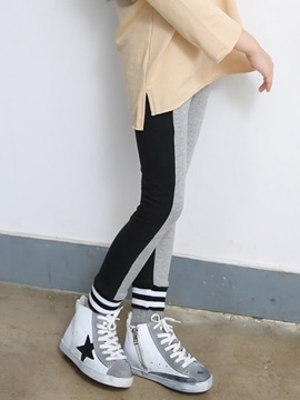Color Block Patchwork Mid-Waist Girl's Leggings