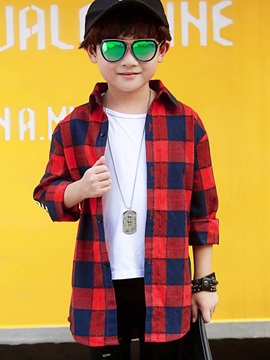 Plaid Single-Breasted Lapel Boy's Shirt